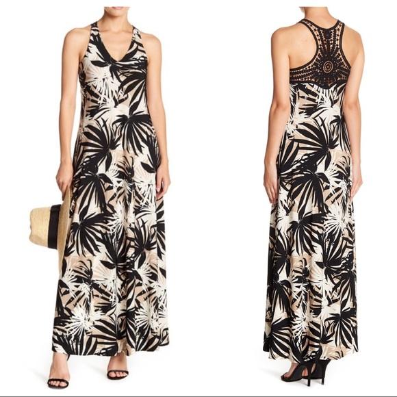 Gabby Skye Dresses & Skirts - Gabby Skye Crochet Back Printed Maxi Dress